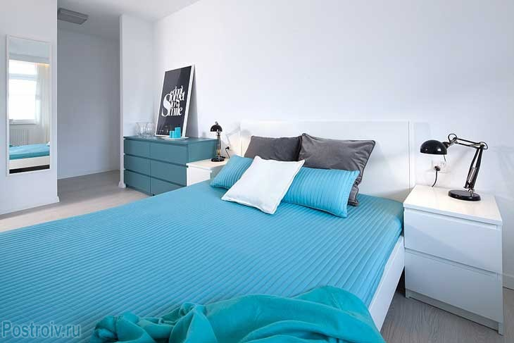 Bright bedroom in the functionalism style.A photo