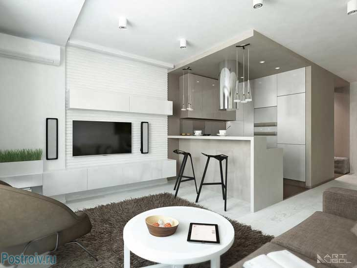 Photo of modern repair of an apartment in Moscow.Living room - kitchen .A photo