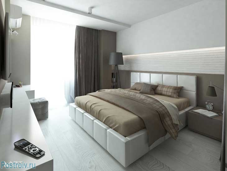 The combination of colors in a modern bedroom .A photo