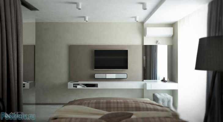 TV and soundbar in the bedroom .A photo