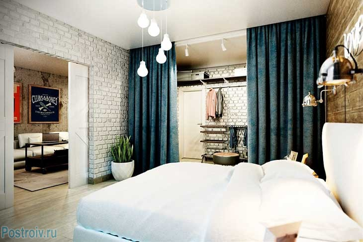 Interior of white bedroom.White brick walls .A photo