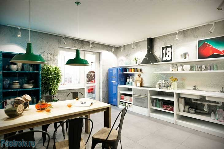 Decorating the walls in the kitchen under the concrete.Style loft .A photo