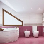 Corner bathroom design.A photo