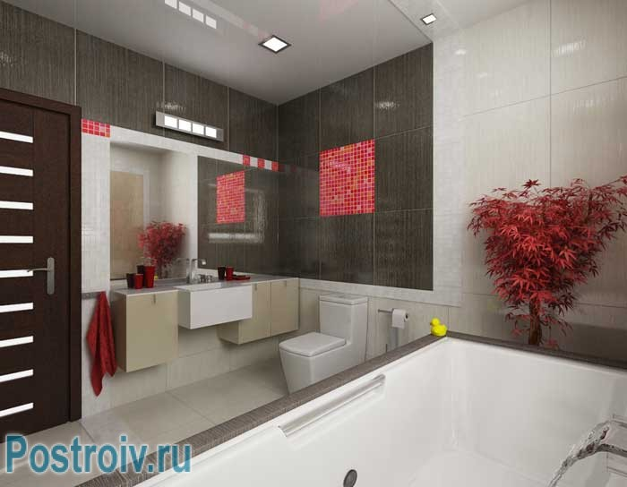 Interior bathroom with red decor items