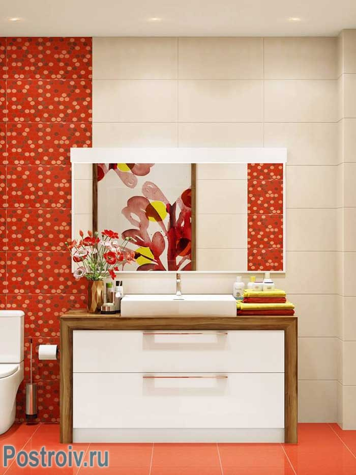 Combination of color in the interior of the bathroom
