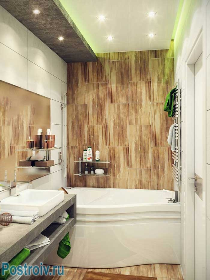 Natural materials in the interior of the bathroom .A photo