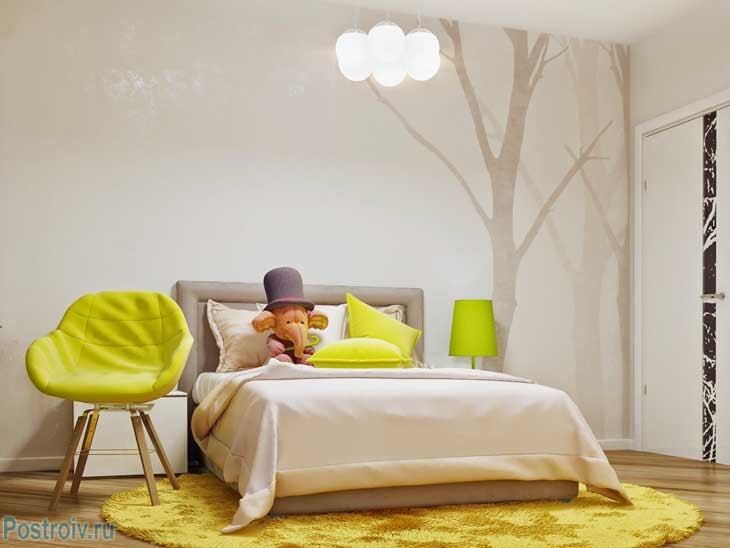 Lime color and the color of melted milk .Fashionable combination of colors for the room of a teenager .A photo