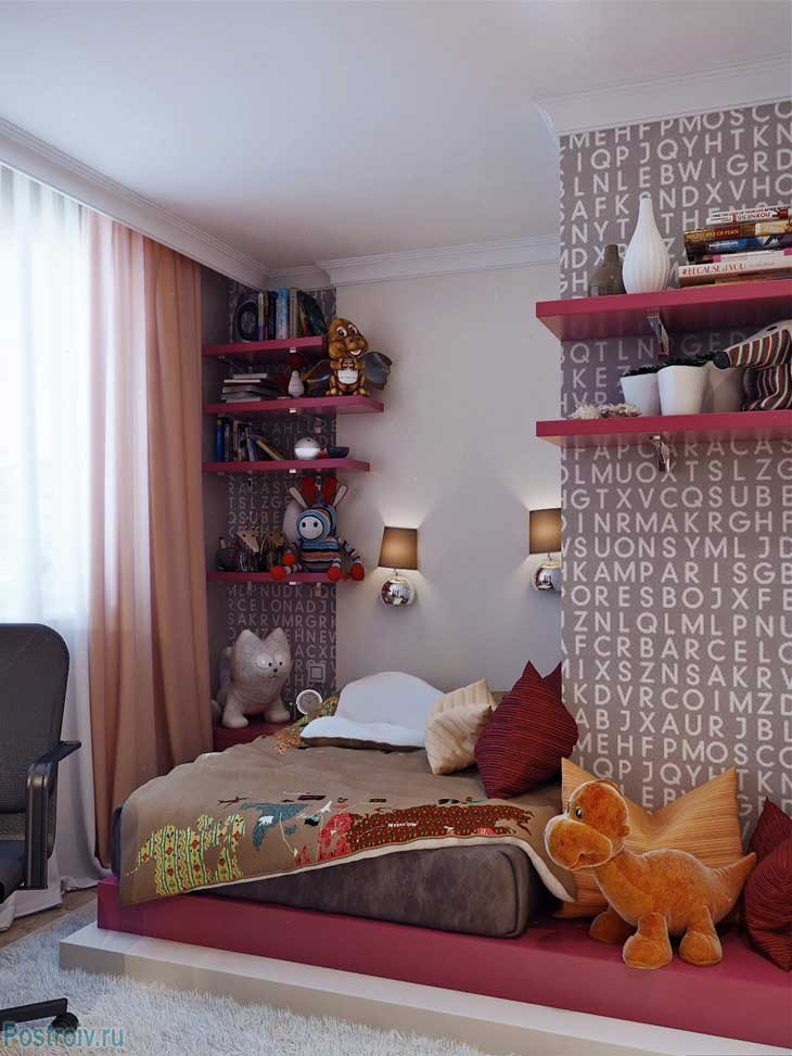 The main colors of the interior of teenage room - lilac and chocolate .A photo