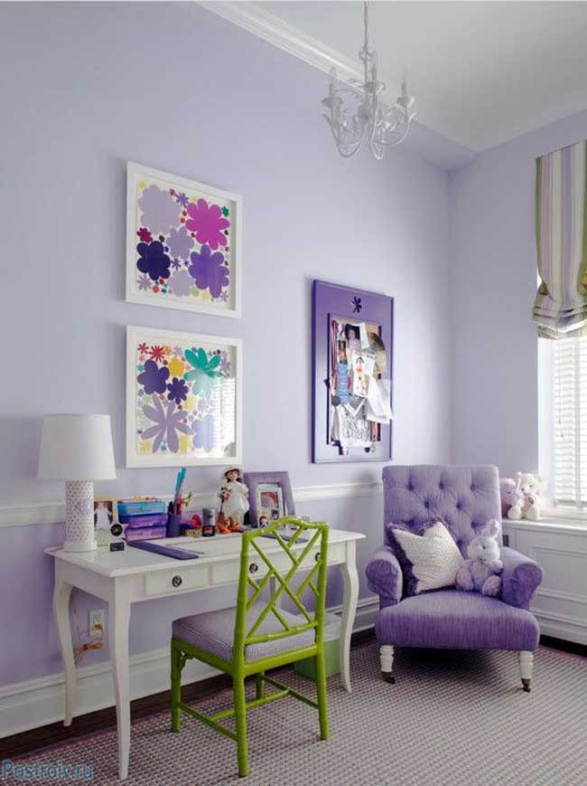 Lilac armchair for relaxation .A photo