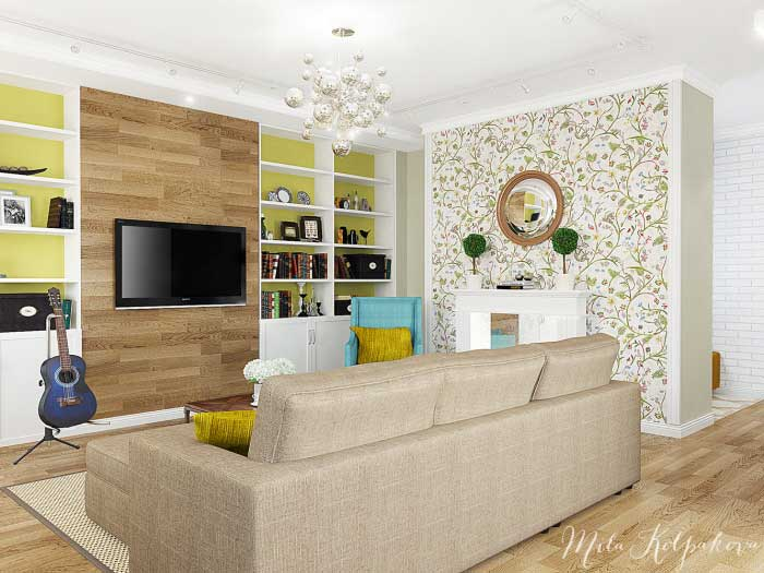 Interior living room with open plan kitchen .A budget option