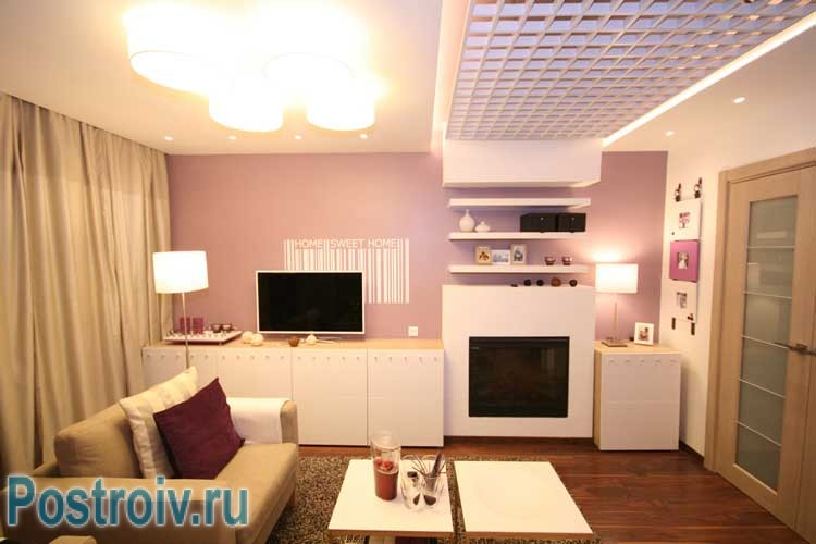 The interior lilac living room and bedroom .A photo