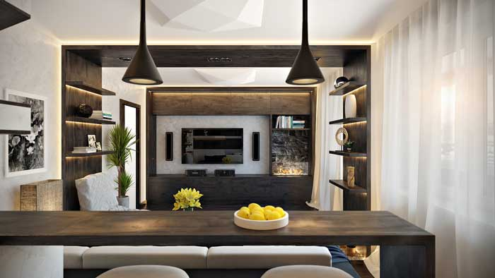 Interior design in the style of the living room Hi-tech apartment