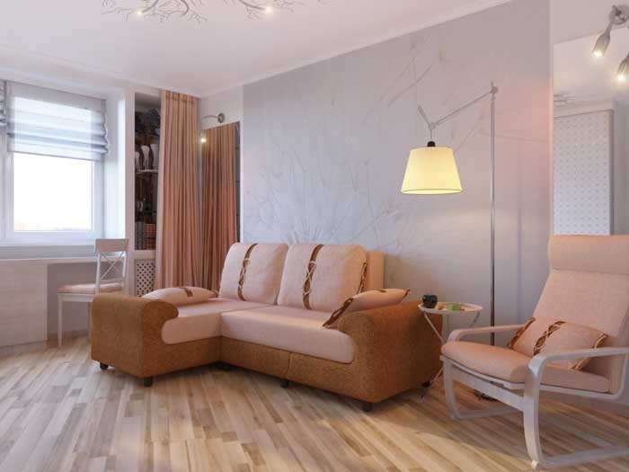 Design living room of 16 square meters.m . Photo 1