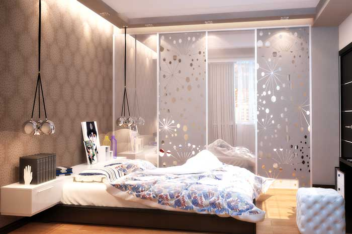 Bedroom with lighting in the ceiling plasterboard .coupe Armoire