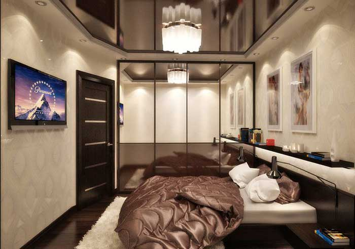 Design stretch ceiling bedroom with a wardrobe and a coupe