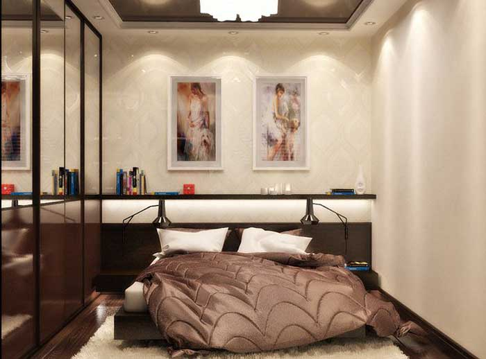 Bright bedroom with a large bed of chocolate color