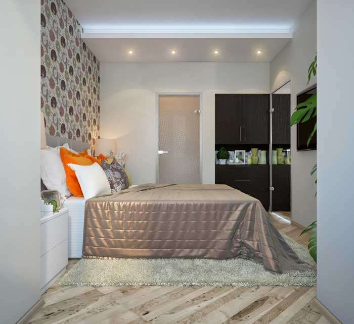 Design of a small bedroom, a room with balcony