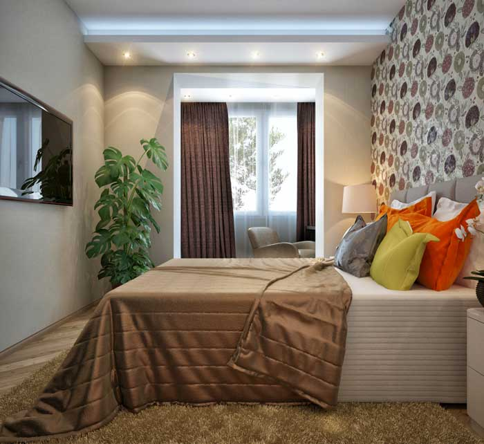 The interior of the bedroom in a small apartment .An inexpensive option