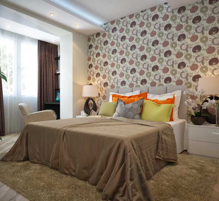 The combination of wallpaper in a small bedroom .Interior Design