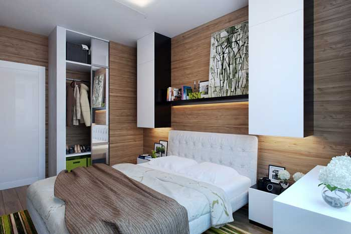 Design a small bedroom with wall shelves .Lighting Design bedroom