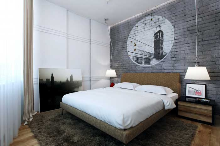 Design a bedroom for the young men .Gray - the main