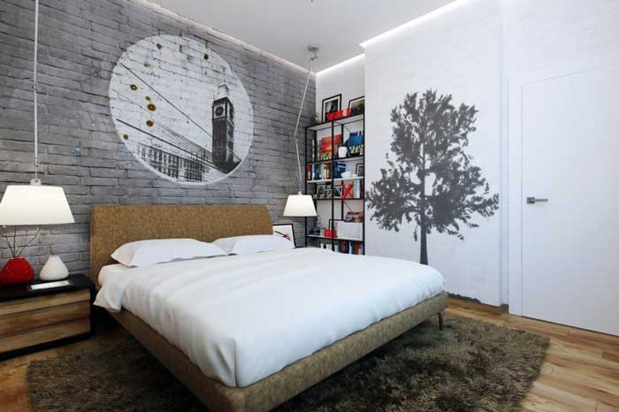 Walls in the bedroom .Drawing on a white wall