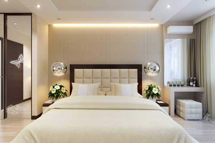 The idea bedroom interior cream color .The design of a large bedroom