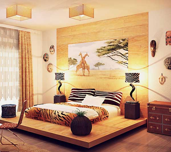 The bedroom in the style of africa