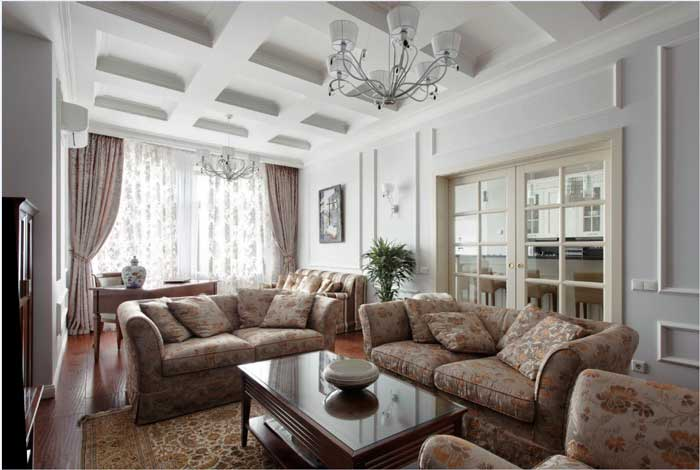Interior in classic style large living room 2014