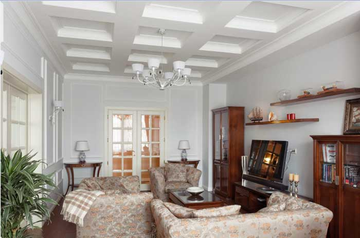 Living room in classic style .gypsum ceiling
