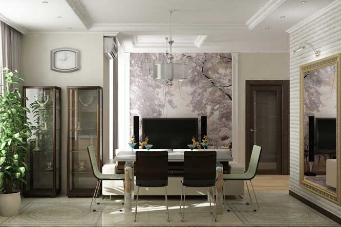 Living room with a kitchen with a large mirror .Gypsum ceiling design