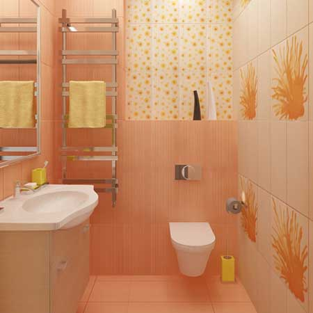 Stylish bathroom Combined peach color .The walls and floor are tiled