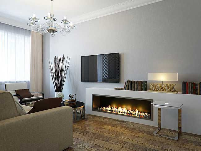 Design living room with decorative fireplace .The walls are gray
