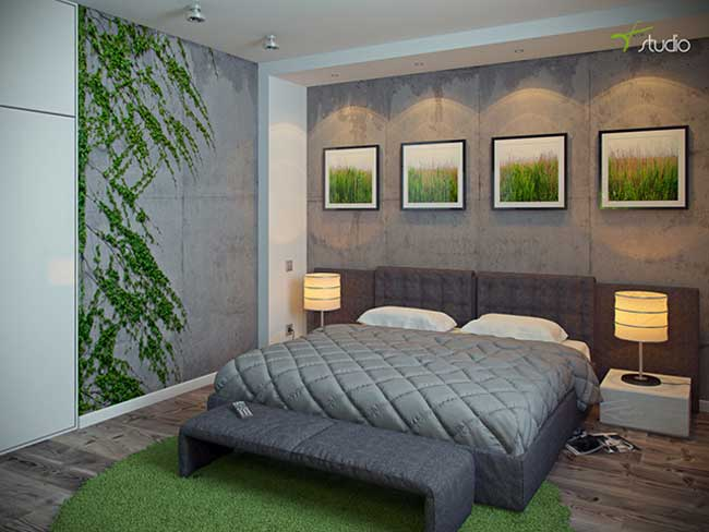 Bedroom design in ecological style .Double Bed , light gray curtains