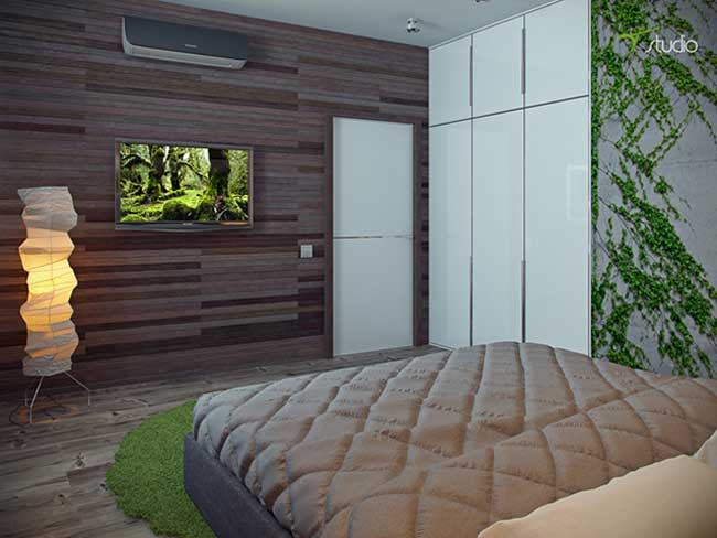 Bedroom interior in ecological style .Wood-paneled walls with built-in wardrobe