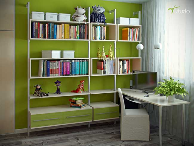 Workplace and bookcase in the room for girls in ecological style