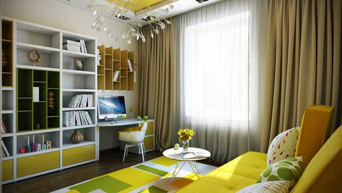 Room for a teenager of 16 , 17 years of furniture and yellow sofa