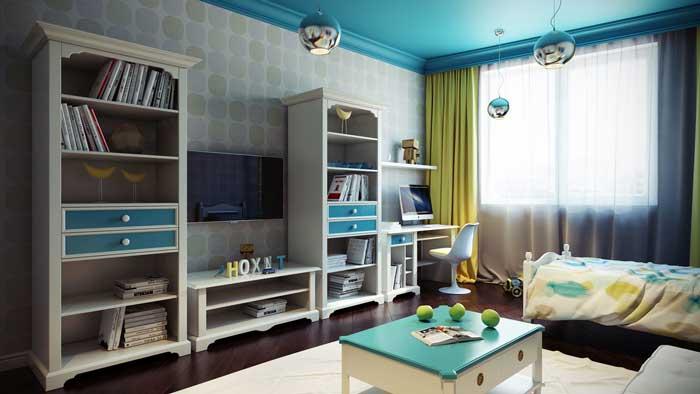 Kind op de kamer voor een jongen van 10 11 12 jaar rustige kleuren en tal van planken voor - Kamer voor jaar oude jongen ...