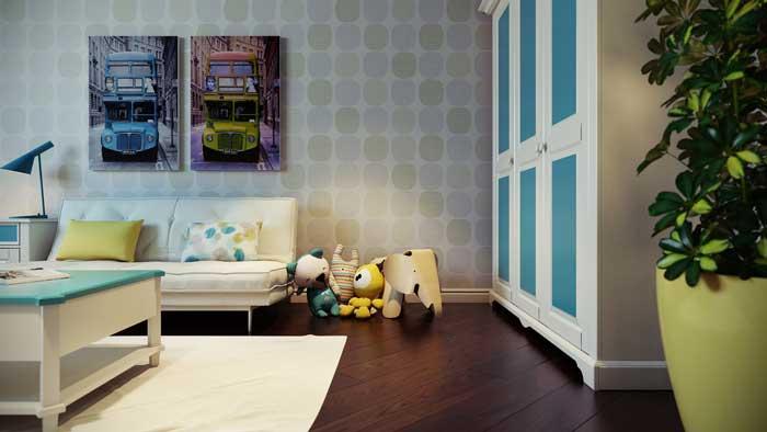 Kind op de kamer voor een jongen van 10 11 12 jaar rustige kleuren en tal van planken voor - Blauwe kamer kind ...