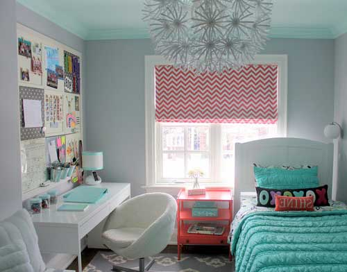 room design for teen girls in bright colors
