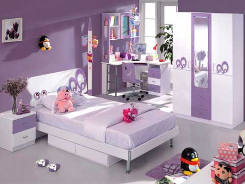 Room design for girls in lilac shades