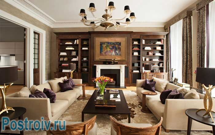 How to arrange the furniture in the living room : a symmetrical arrangement method , two sofas and chairs