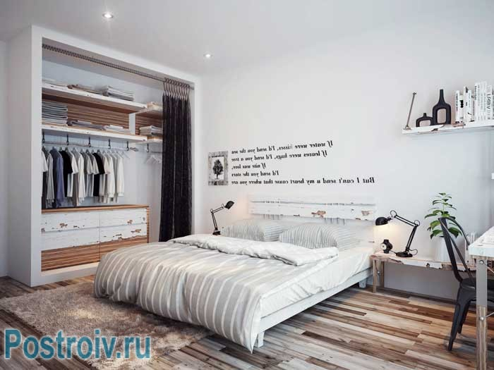 White walls in the interior of a bedroom .Eco Style in full glory