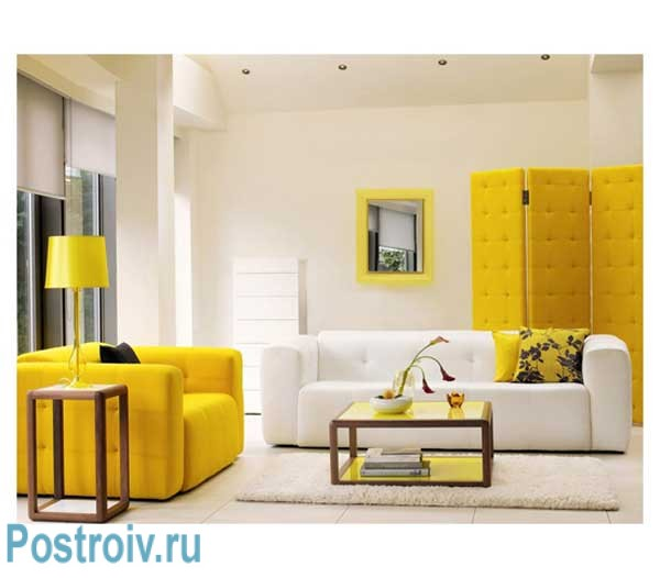 Bright living room with walls of white and yellow sofa