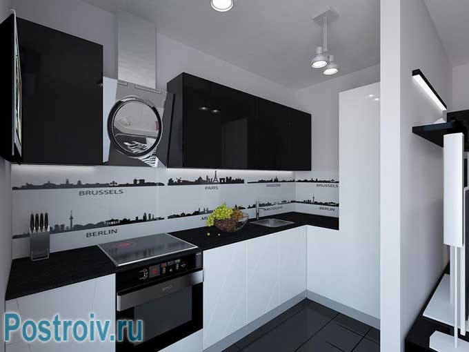 Black and white kitchen in a modern style
