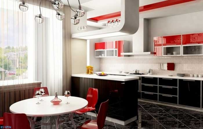 Black and red kitchen .Photo 2