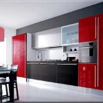 Photo kitchen in red and black