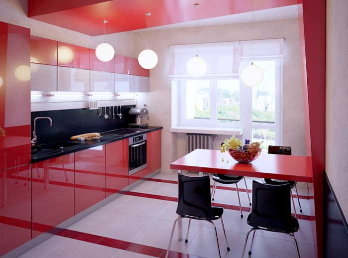 Red and black kitchen design.Picture 3