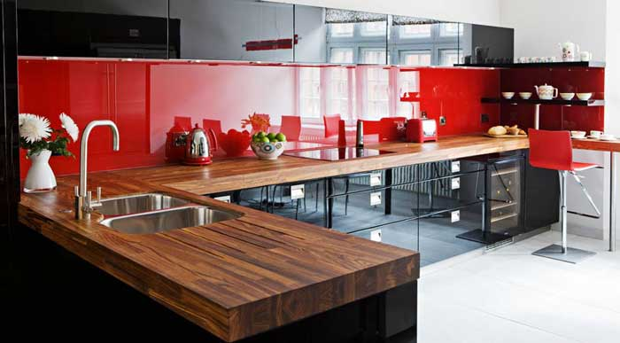 Red and black kitchen interior .Picture 8
