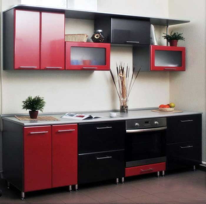 Kitchen interior red and black.Photo 9